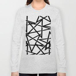 Interlocking Black Star Polygon Shape Design Long Sleeve T-shirt
