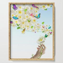 Plumeria Butterflies Serving Tray
