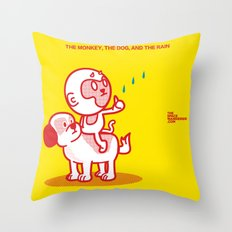 The Dog, the Monkey, and the Rain Throw Pillow