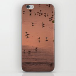 Lone surfer walks along beach at sunset iPhone Skin