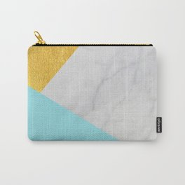 Carrara marble with gold and Pantone Island Paradise color Carry-All Pouch