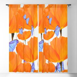 Poppies And Butterflies White Background #decor #society6 #buyart Blackout Curtain