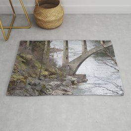 Old Bridge Over River, Vintage Concrete Bridge Rug