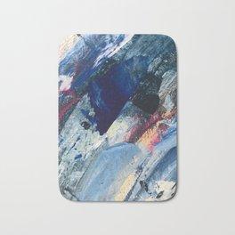 Flourish [1]: a vibrant abstract mixed-media piece in blues, magenta, and gold Bath Mat