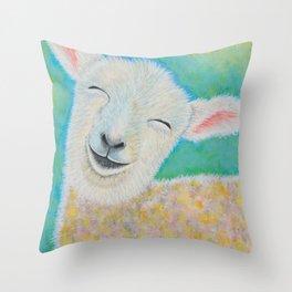 Happy Lamb Throw Pillow