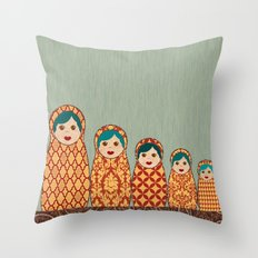 Red and Yellow Matryoshka Nesting Dolls Throw Pillow
