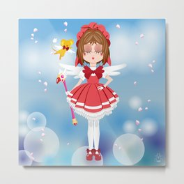Mini Me Stars: Red Sakura Metal Print