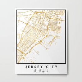 JERSEY CITY NEW JERSEY STREET MAP ART Metal Print