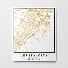 JERSEY CITY NEW JERSEY STREET MAP ART Metal Print