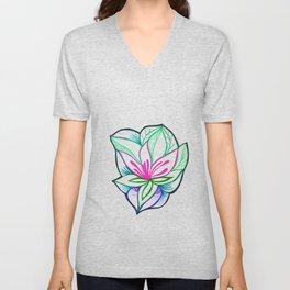 Flower tropical illustration minimal Unisex V-Neck