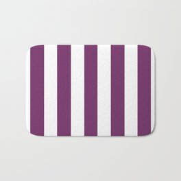 Byzantium violet - solid color - white vertical lines pattern Bath Mat