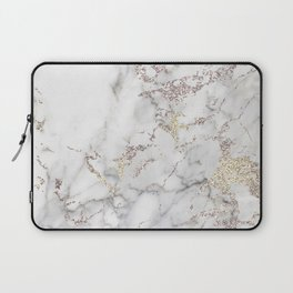 Champagne Rose Gold Blush Metallic Glitter Foil on Grey Marble Laptop Sleeve