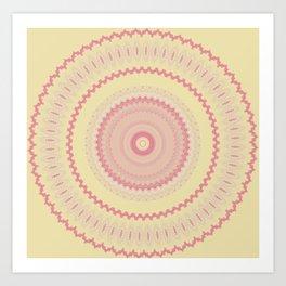 Pretty Pink Yellow Mandala Design Art Print