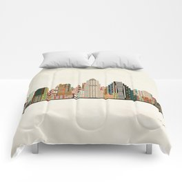 austin skyline Comforters