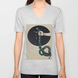 The strangling of a poisonous snake, representing the crushing colour lithograph G. Dorival 1918 Unisex V-Neck