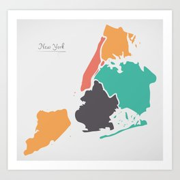 New York Map with boroughs and modern round shapes Art Print