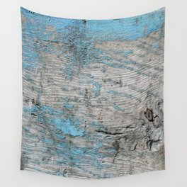 Peeled Blue Paint on Wood rustic decor Wall Tapestry