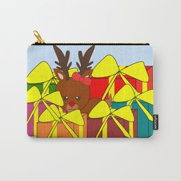 Cute reindeer hiding behind Christmas gifts Carry-All Pouch