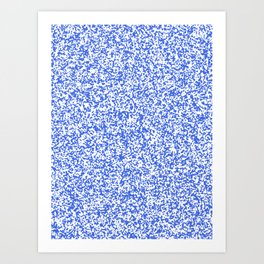 Tiny Spots - White and Royal Blue Art Print
