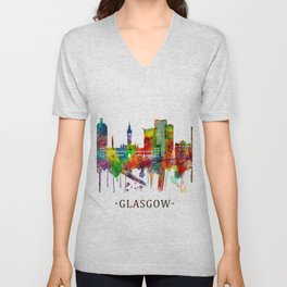 Glasgow Scotland Skyline Unisex V-Neck