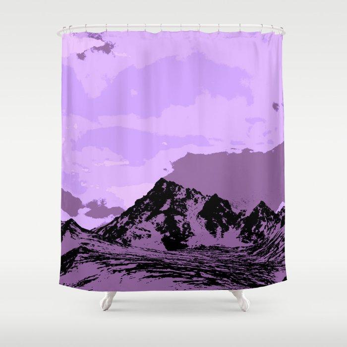Chugach Mountains   EggPlant Pop Art Shower Curtain