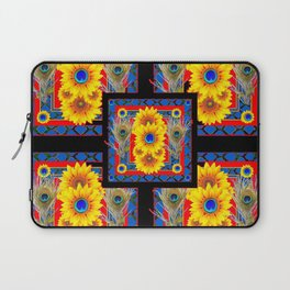 BLUE PEACOCK JEWELED SUNFLOWERS DECO ABSTRACT Laptop Sleeve