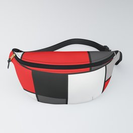 Red Black and Grey squares Fanny Pack