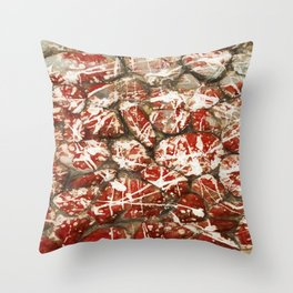 Red Paint Abstract Drip Stones AKA Pollock Throw Pillow