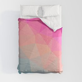 Dark Pink, Peach and Cyan Geometric Abstract Triangle Pattern Design  Comforters
