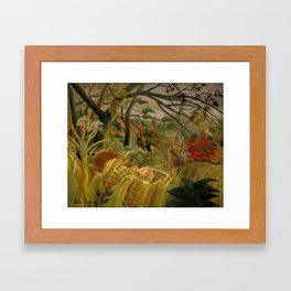 "Henri Rousseau ""Tiger in a Tropical Storm (Surprised!)"", 1891 Framed Art Print"