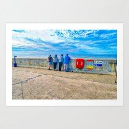 Watching The Sea at Sheringham Beach, U.K Art Print