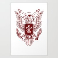 In God We Trust Eagle - Red Art Print