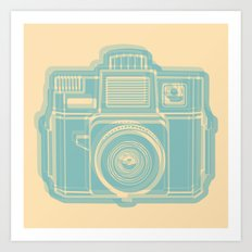 I Still Shoot Film Holga Logo - Reversed Turquoise/Tan Art Print