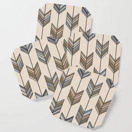 Boho Arrow Fletching Pattern - Neutral Brown and Grey Coaster
