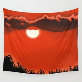 Blazing Red Sunset Wall Tapestry