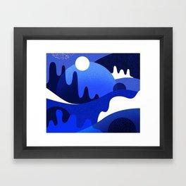 Terrazzo landscape blue night Framed Art Print