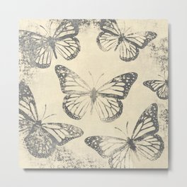 Old Newsprint Ink Paper Style Monarch Butterly Pattern Metal Print