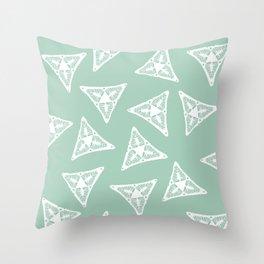 Snax Triangles on Light Green BG Throw Pillow