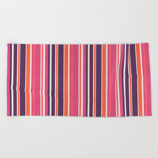 Happy Vertical LInes Pink Version Beach Towel