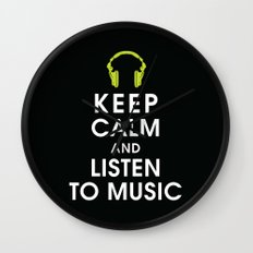 Keep Calm and Listen to Music Wall Clock