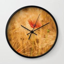 Fiery poppy in a golden cornfield- Poppies Flower Flowers #Society6 Wall Clock