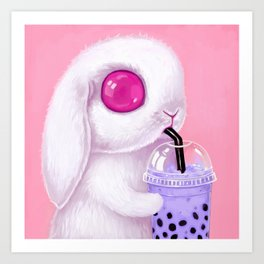 Bunny Loves Bubble Tea Art Print