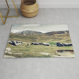Scenic Snow-Capped Mountains And Majestic Meadow Rug
