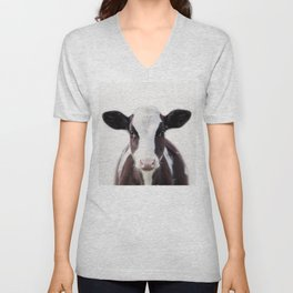 Baby Cow, Baby Animals Art Print By Synplus Unisex V-Neck
