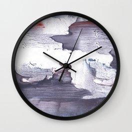 Dark slate gray abstract watercolor Wall Clock