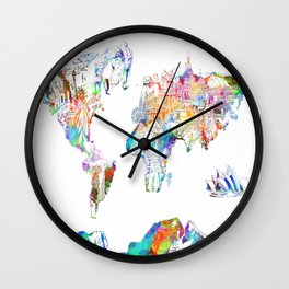 world map landmarks collage Wall Clock