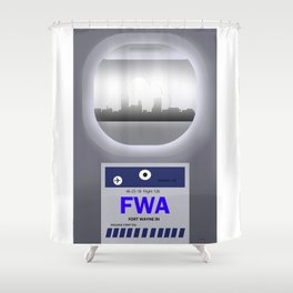 Fort Wayne - FWA - Airport Code and Skyline Shower Curtain