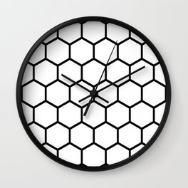 White and black honeycomb pattern Wall Clock