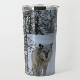 Lone wolf in the snow Travel Mug