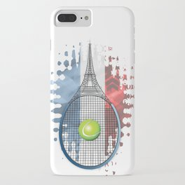 Racquet Eiffel Tower with French flag colors in background iPhone Case